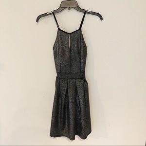 Boohoo Metallic Crossback Fit & Flare Dress
